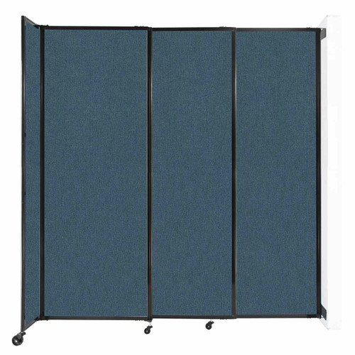 """Wall-Mounted StraightWall Sliding Partition 7'2"""" x 7'6"""" Caribbean Fabric"""