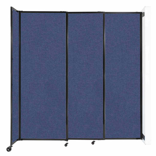 """Wall-Mounted StraightWall Sliding Partition 7'2"""" x 7'6"""" Cerulean Fabric"""