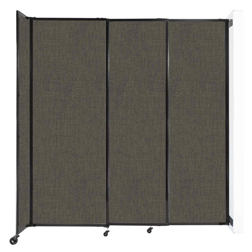 """Wall-Mounted StraightWall Sliding Partition 7'2"""" x 7'6"""" Mocha Fabric"""