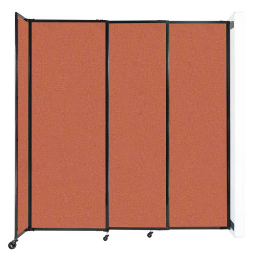 "Wall-Mounted StraightWall Sliding Partition 7'2"" x 7'6"" Papaya Fabric"