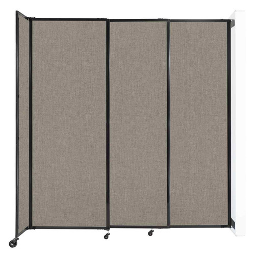 """Wall-Mounted StraightWall Sliding Partition 7'2"""" x 7'6"""" Warm Pebble Fabric"""