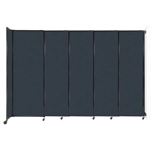 """Wall-Mounted StraightWall Sliding Partition 11'3"""" x 7'6"""" Blue Spruce Fabric"""