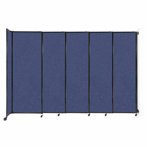 """Wall-Mounted StraightWall Sliding Partition 11'3"""" x 7'6"""" Cerulean Fabric"""