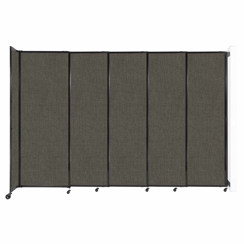 """Wall-Mounted StraightWall Sliding Partition 11'3"""" x 7'6"""" Mocha Fabric"""