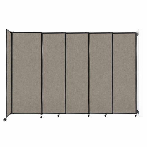 """Wall-Mounted StraightWall Sliding Partition 11'3"""" x 7'6"""" Warm Pebble Fabric"""