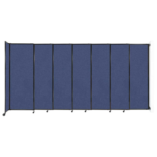 """Wall-Mounted StraightWall Sliding Partition 15'6"""" x 7'6"""" Cerulean Fabric"""