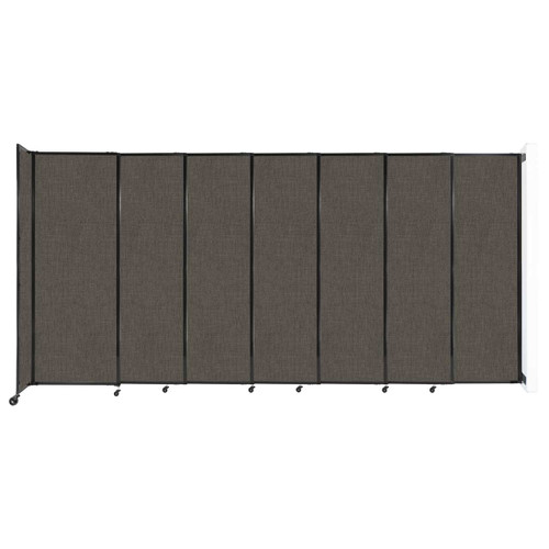 """Wall-Mounted StraightWall Sliding Partition 15'6"""" x 7'6"""" Mocha Fabric"""