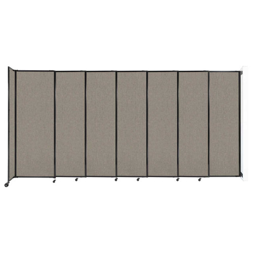 """Wall-Mounted StraightWall Sliding Partition 15'6"""" x 7'6"""" Warm Pebble Fabric"""