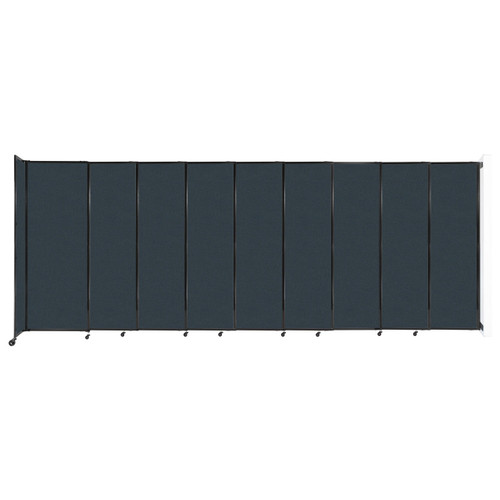 """Wall-Mounted StraightWall Sliding Partition 19'9"""" x 7'6"""" Blue Spruce Fabric"""