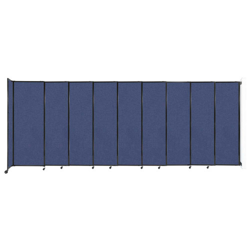 """Wall-Mounted StraightWall Sliding Partition 19'9"""" x 7'6"""" Cerulean Fabric"""