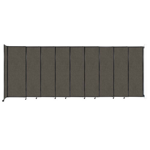 """Wall-Mounted StraightWall Sliding Partition 19'9"""" x 7'6"""" Mocha Fabric"""