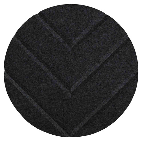 "Wall-Mounted SoundSorb Acoustic 12"" Chevron Circle Black High Density Polyester"