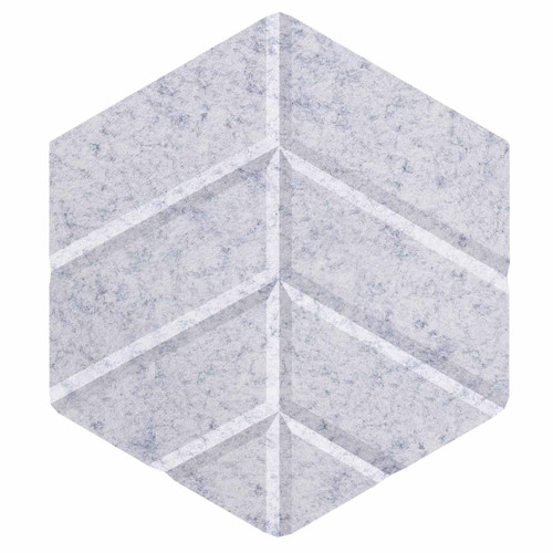 "Wall-Mounted SoundSorb Acoustic Panels 12"" Hexagon Leaf Marble Gray High Density Polyester"