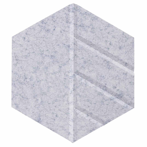 "Wall-Mounted SoundSorb Acoustic Panels 12"" Hexagon Skyway Marble Gray High Density Polyester"