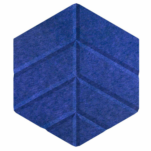"Wall-Mounted SoundSorb Acoustic Panels 12"" Hexagon Leaf Blue High Density Polyester"