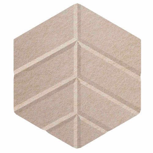 "Wall-Mounted SoundSorb Acoustic Panels 12"" Hexagon Leaf Beige High Density Polyester"