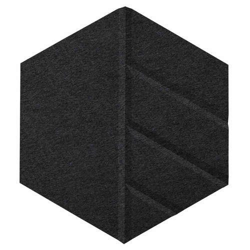 "Wall-Mounted SoundSorb Acoustic Panels 12"" Hexagon Skyway Black High Density Polyester"