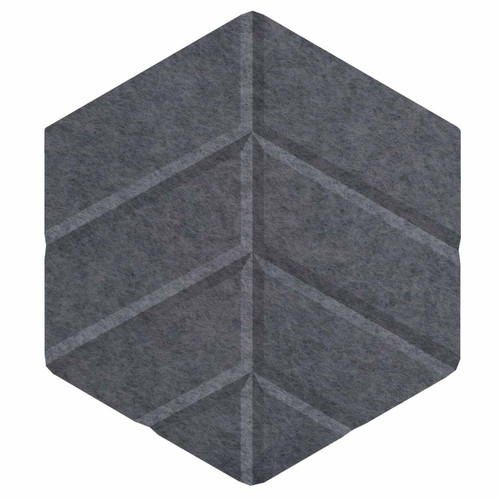 "Wall-Mounted SoundSorb Acoustic Panels 12"" Hexagon Leaf Dark Gray High Density Polyester"