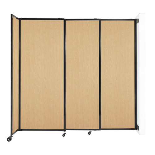 """Wall-Mounted StraightWall Sliding Partition 7'2"""" x 6'10"""" Natural Maple Wood Grain"""