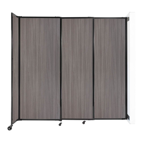 """Wall-Mounted StraightWall Sliding Partition 7'2"""" x 6'10"""" Gray Elm Wood Grain"""