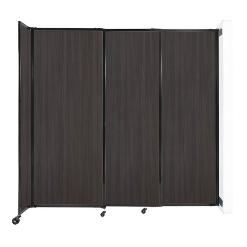 """Wall-Mounted StraightWall Sliding Partition 7'2"""" x 6'10"""" Carbon Ash Wood Grain"""