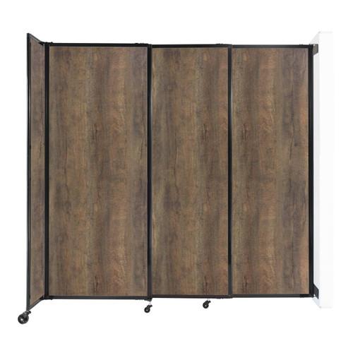 "Wall-Mounted StraightWall Sliding Partition 7'2"" x 6'10"" Urban Oak Wood Grain"