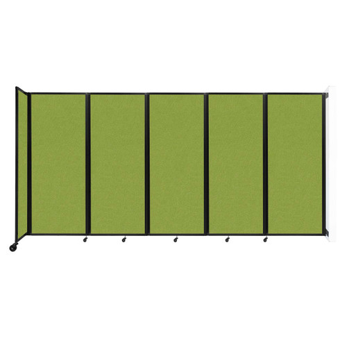"""Wall-Mounted Room Divider 360 Folding Partition 14' x 6'10"""" Lime Green Fabric"""