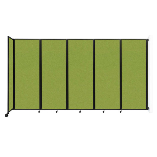 """Wall-Mounted Room Divider 360 Folding Partition 14' x 7'6"""" Lime Green Fabric"""