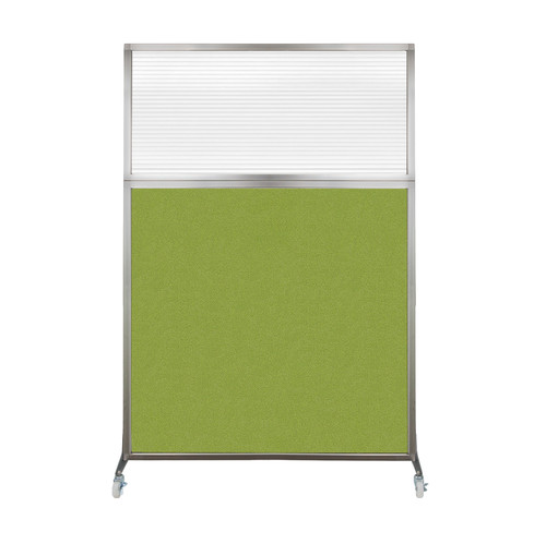 Hush Screen Portable Partition 4' x 6' Lime Green Fabric Clear Fluted Window With Wheels