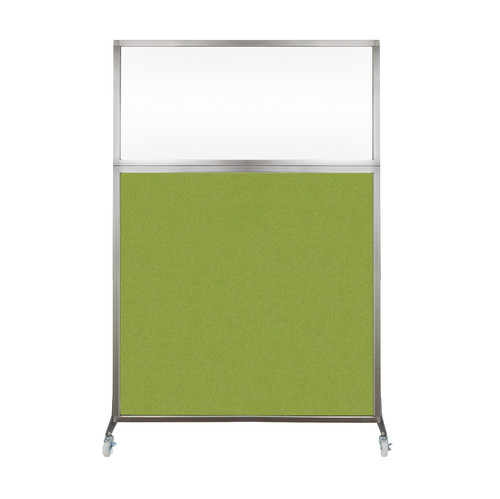 Hush Screen Portable Partition 4' x 6' Lime Green Fabric Clear Window With Wheels