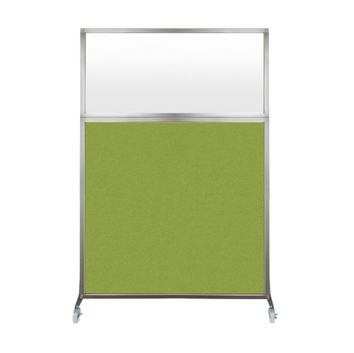 Hush Screen Portable Partition 4' x 6' Lime Green Fabric Frosted Window With Wheels