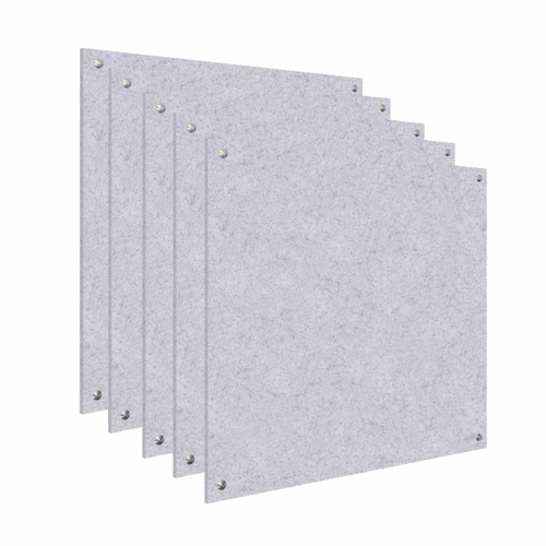 Wall-Mounted Standoff SoundSorb Acoustic Panels 4' x 4' Marble Gray Bulk Pack