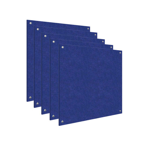 Wall-Mounted Standoff SoundSorb Acoustic Panels 4' x 4' Blue Bulk Pack