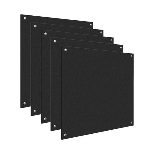 Wall-Mounted Standoff SoundSorb Acoustic Panels 4' x 4' Black Bulk Pack