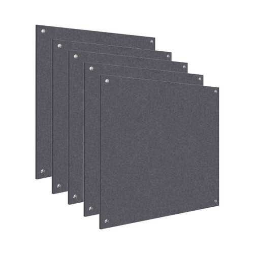 Wall-Mounted Standoff SoundSorb Acoustic Panels 4' x 4' Dark Gray Bulk Pack