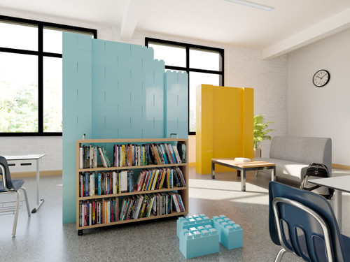 Use the block walls in schools or gathering spaces to dilineate space and create a fun activity to build them!