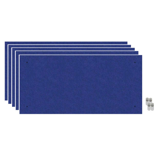 Wall-Mounted Standoff SoundSorb Acoustic Panels 2' x 4' Blue Bulk Pack