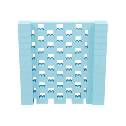 7' x 7' Light Blue Open Stagger Block Wall Kit