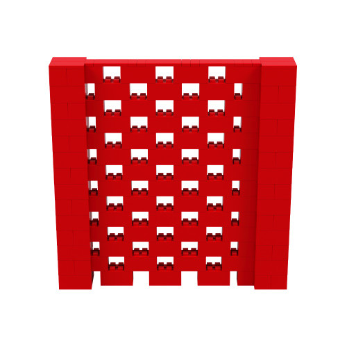 7' x 7' Red Open Stagger Block Wall Kit