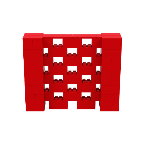 5' x 4' Red Open Stagger Block Wall Kit