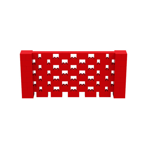 9' x 4' Red Open Stagger Block Wall Kit