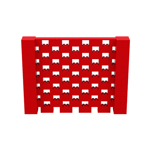 8' x 6' Red Open Stagger Block Wall Kit