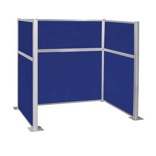 Pre-Configured Hush Panel Cubicle (U Shape) 6' x 4' Royal Blue Fabric