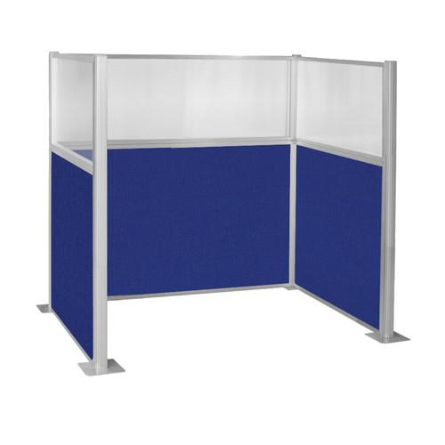 Pre-Configured Hush Panel Cubicle (U Shape) 6' x 4' W/ Window Royal Blue Fabric