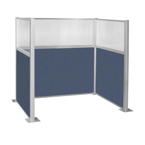 Pre-Configured Hush Panel Cubicle (U Shape) 6' x 4' W/ Window Ocean Fabric