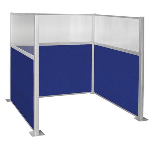 Pre-Configured Hush Panel Cubicle (U Shape) 6' x 6' W/ Window Royal Blue Fabric