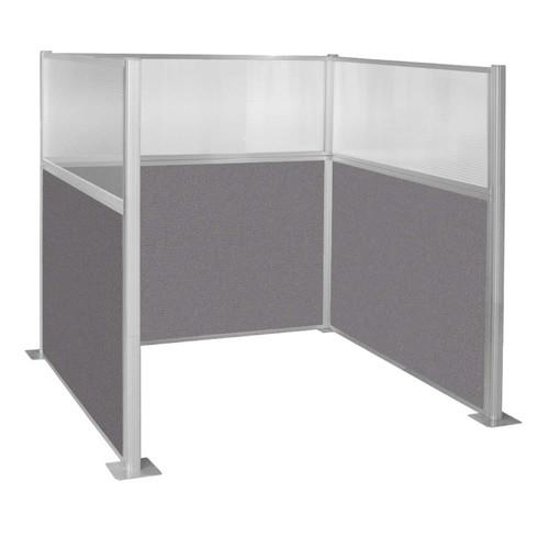 Pre-Configured Hush Panel Cubicle (U Shape) 6' x 6' W/ Window Slate Fabric