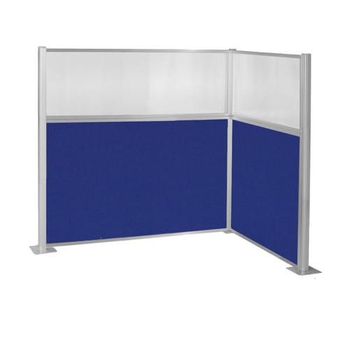 Pre-Configured Hush Panel Cubicle (L Shape) 6' x 4' w/ Window Royal Blue Fabric