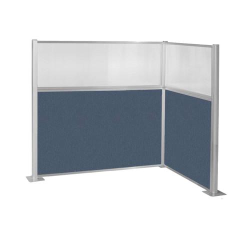 Pre-Configured Hush Panel Cubicle (L Shape) 6' x 4' w/ Window Ocean Fabric