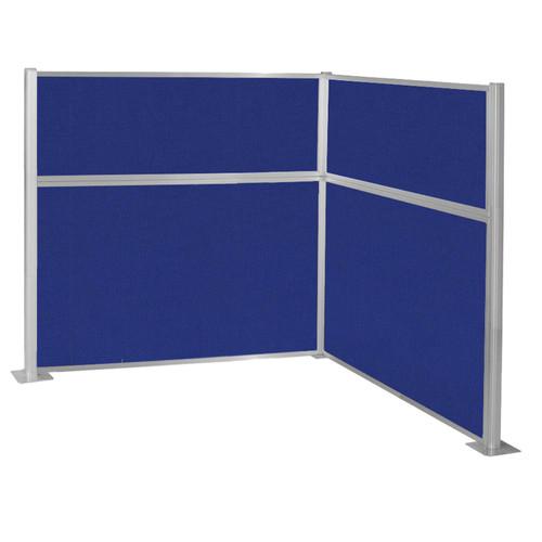 Pre-Configured Hush Panel Cubicle (L Shape) 6' x 6' Royal Blue Fabric